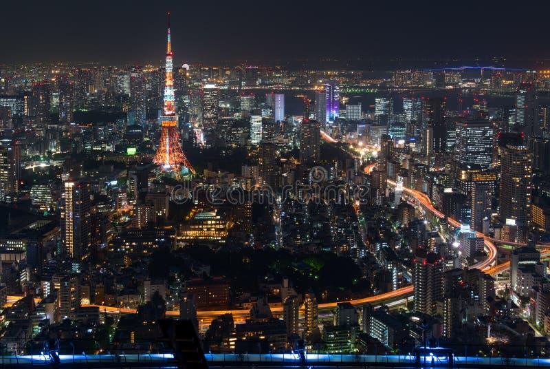 从六本木新城看见的东京铁塔在东京,日本 免版税库存图片