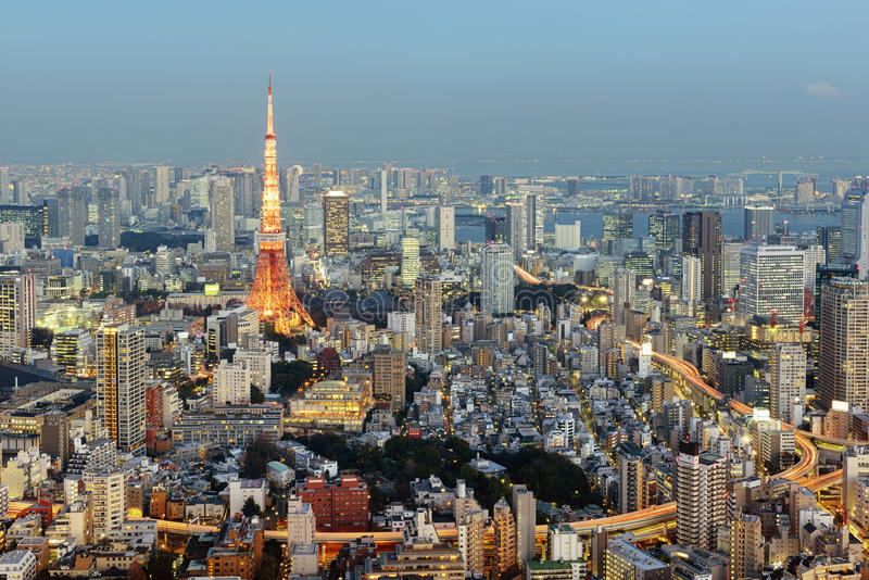 从六本木的东京地平线 库存图片