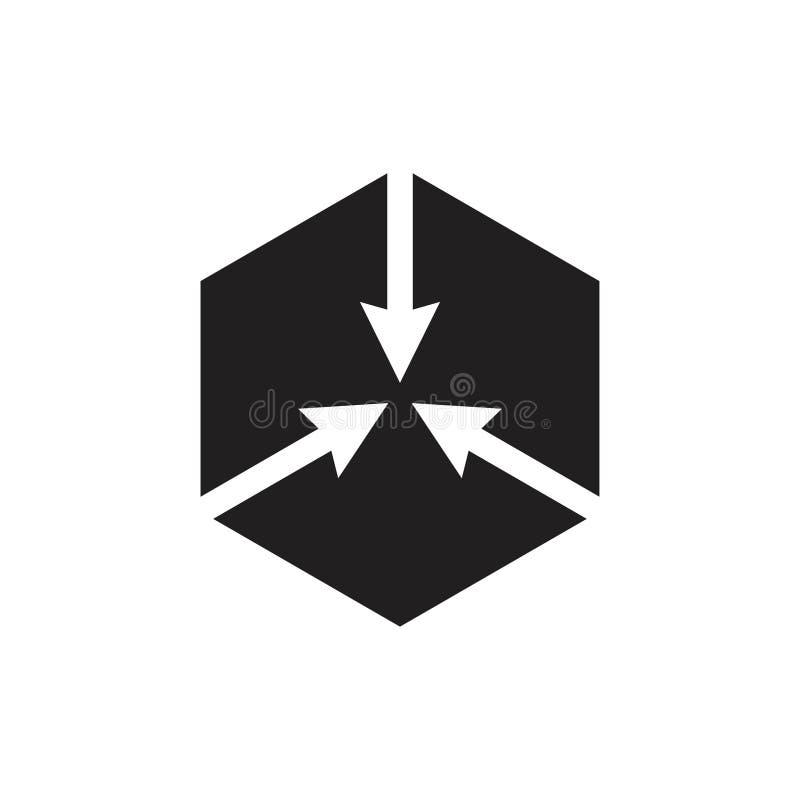 六角中心箭头商标传染媒介 库存例证