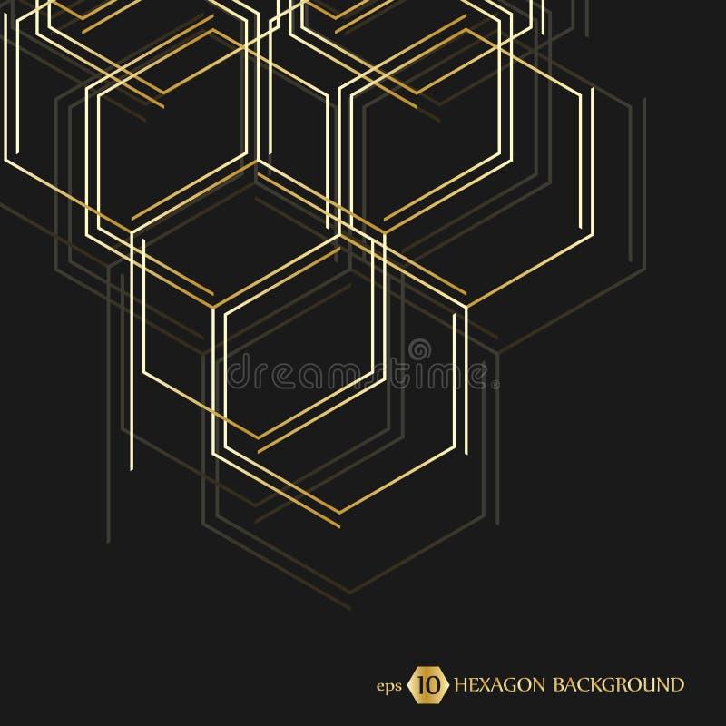 六角几何背景 与线和社会网络的传染媒介连接 您的设计的企业介绍 皇族释放例证