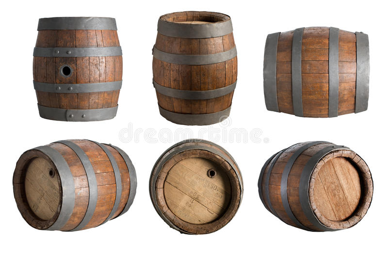 六角度木头桶 免版税库存图片