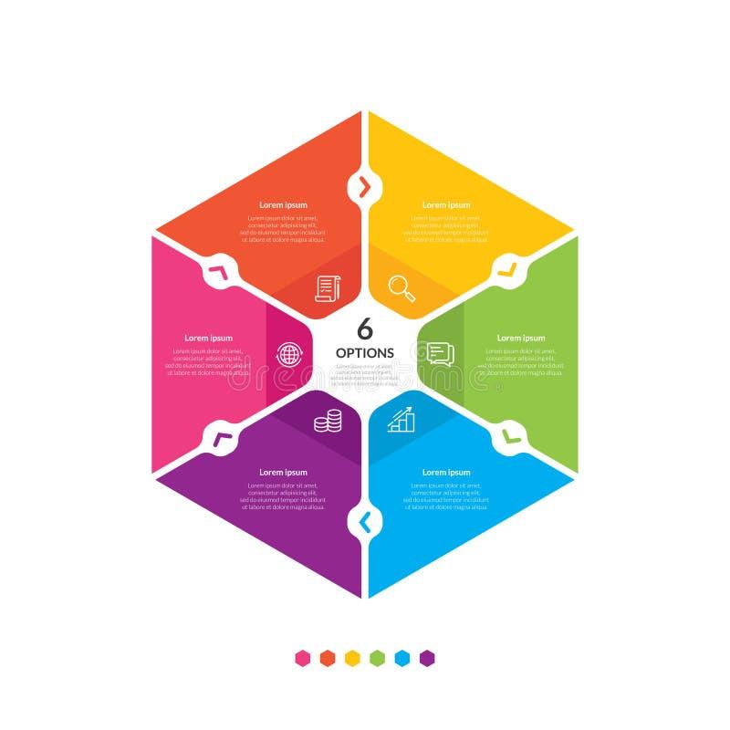 六角形图信息图表模板 库存例证