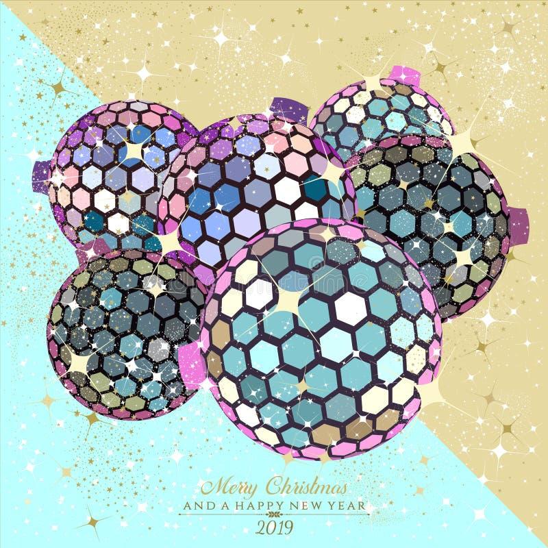 六角形在呈虹彩的迪斯科球在节日 向量例证