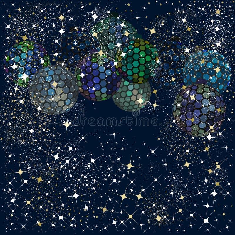 六角形在蓝色的迪斯科球节日的 皇族释放例证