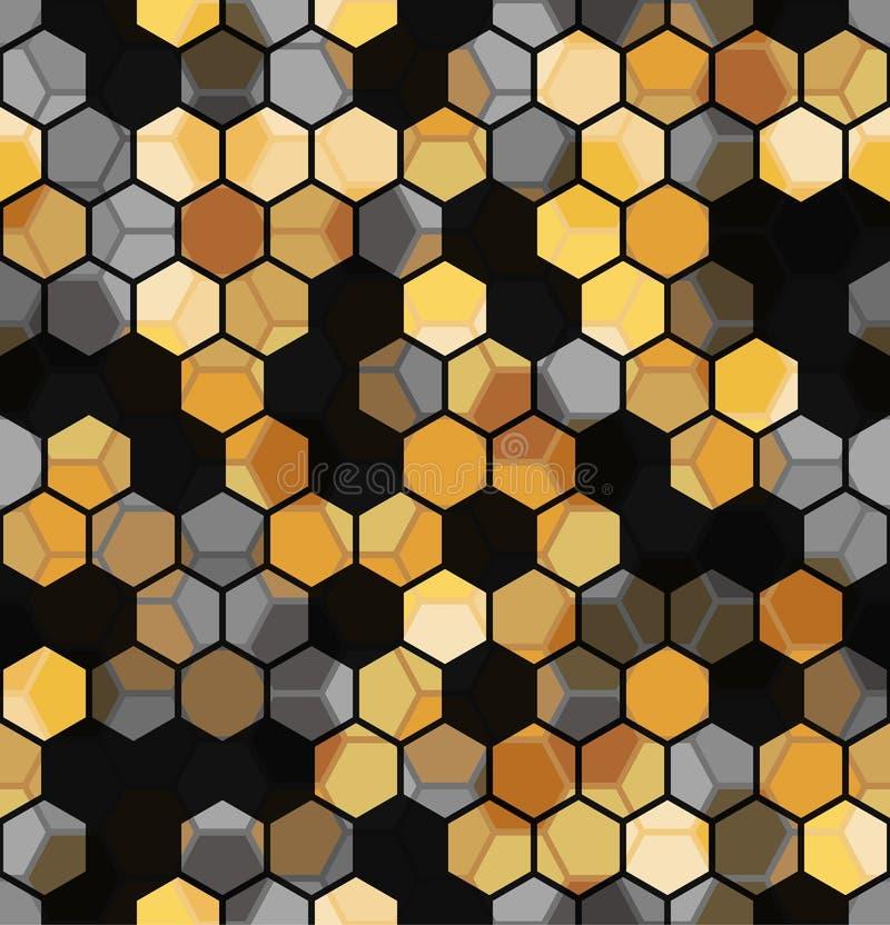 六角形多色抽象几何背景的现代无缝的样式 皇族释放例证