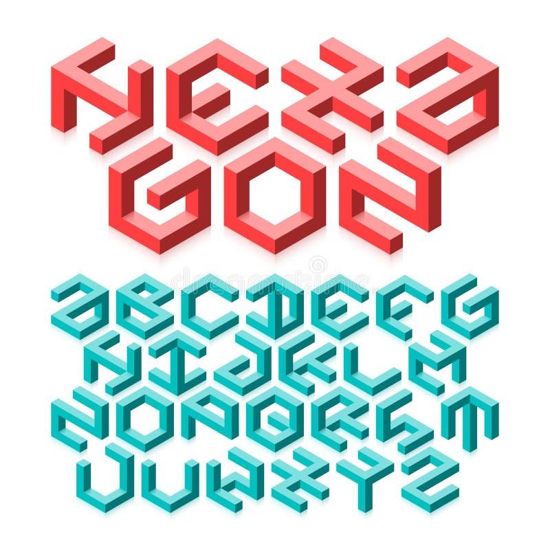 六角形字母表 库存例证
