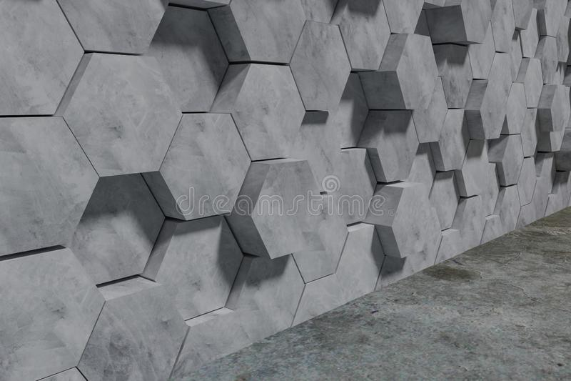 六角形形状的具体块墙壁背景 透视图 3d?? 库存例证