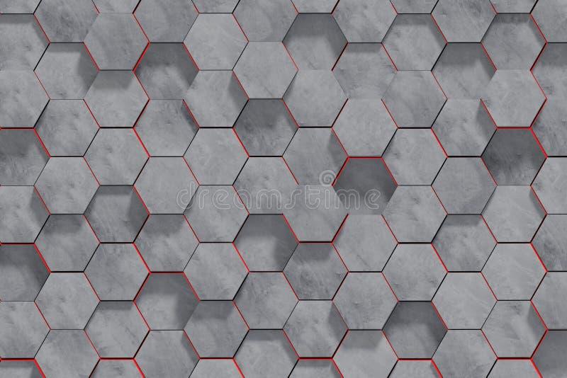 六角形形状的具体块墙壁背景 透视图 3d?? 皇族释放例证