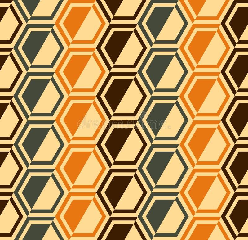 六角形无缝的模式-减速火箭的颜色-向量 皇族释放例证