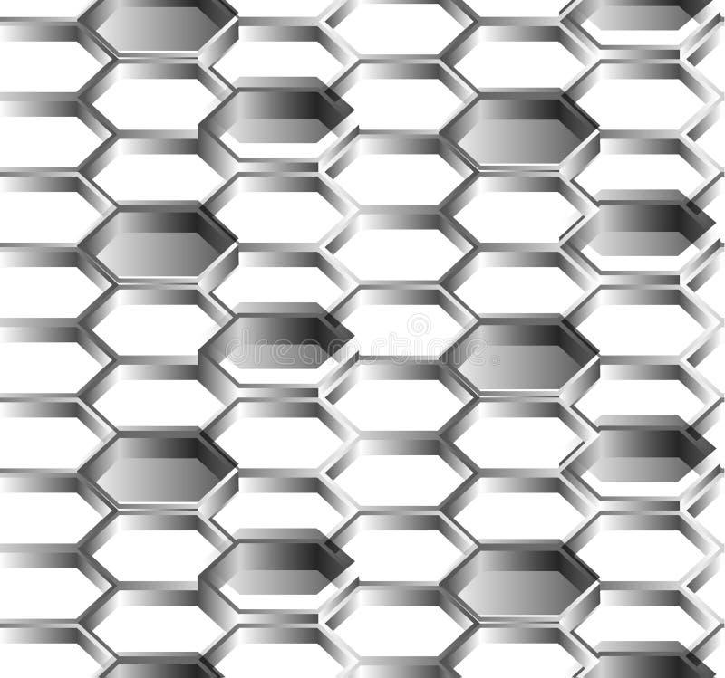 六角形无缝的白色背景 向量例证