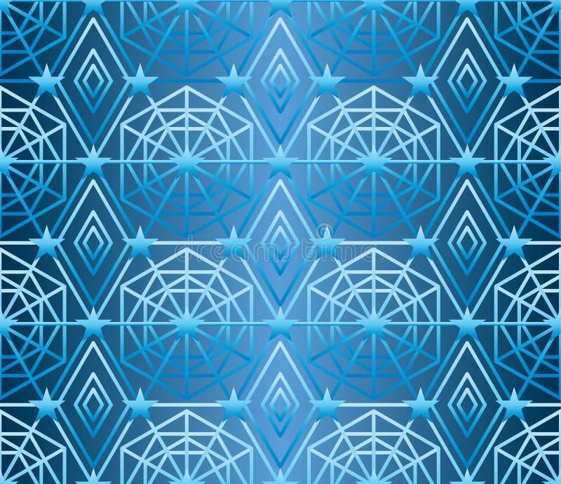 六角形星许多排行蓝色无缝的样式 皇族释放例证