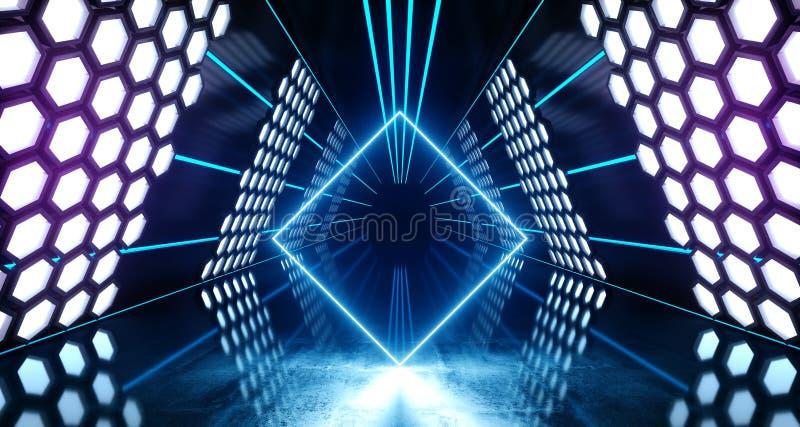 六角形点燃未来派霓虹被带领的激光发光的蓝色紫色白色充满活力的虚拟现实三角形状的隧道的科学幻想小说 库存例证