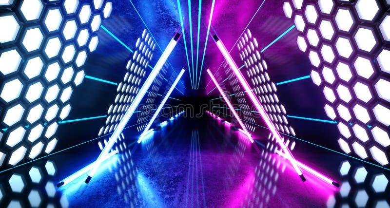 六角形点燃未来派霓虹被带领的激光发光的蓝色紫色白色充满活力的虚拟现实三角形状的隧道的科学幻想小说 向量例证