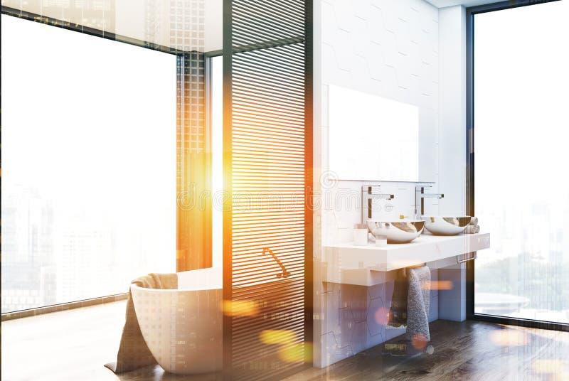 六角形瓦片卫生间、被定调子的双水池和木盆 库存例证