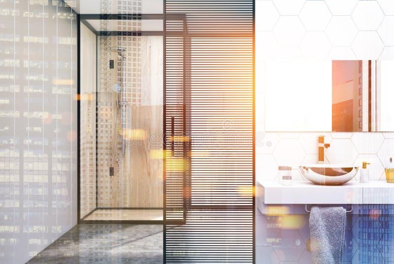 六角形瓦片卫生间,被定调子的水槽阵雨 皇族释放例证