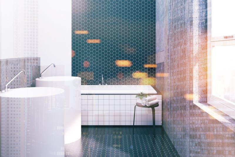 六角形瓦片白色和黑卫生间,被定调子的水槽 皇族释放例证