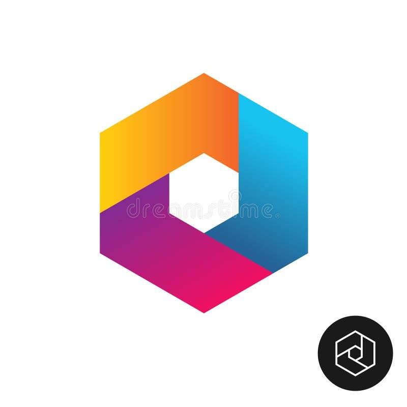 六角形的技术商标摘要五颜六色的样式 皇族释放例证