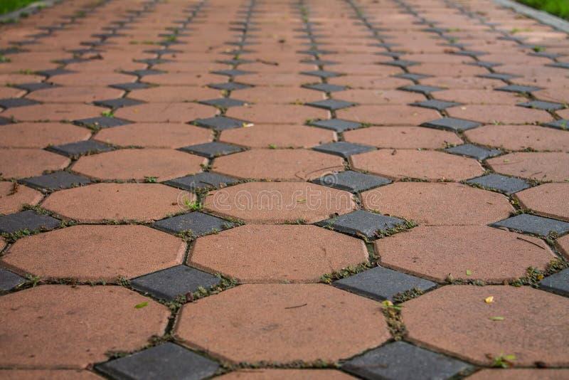 六角形砖地板纹理背景 免版税库存图片