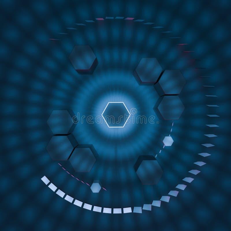 六角形立方体有黑暗的背景,围拢由发光的线,3d翻译 向量例证