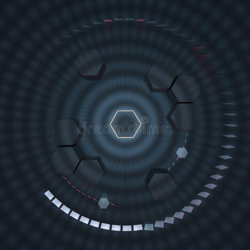 六角形立方体有黑暗的背景,围拢由发光的线,3d翻译 皇族释放例证