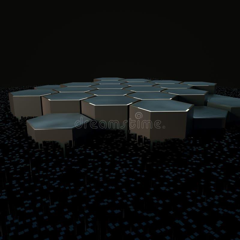 六角形立方体有黑暗的背景,围拢由发光的线,3d翻译 库存例证