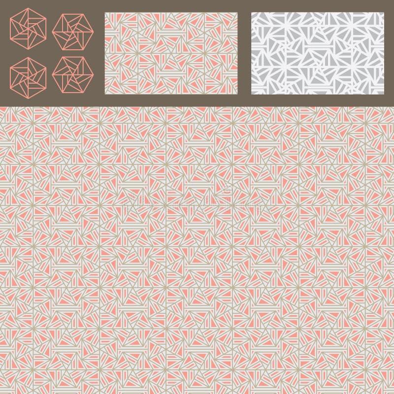 六角形线型三角没有方形的桃红色灰色集合无缝的样式 库存例证