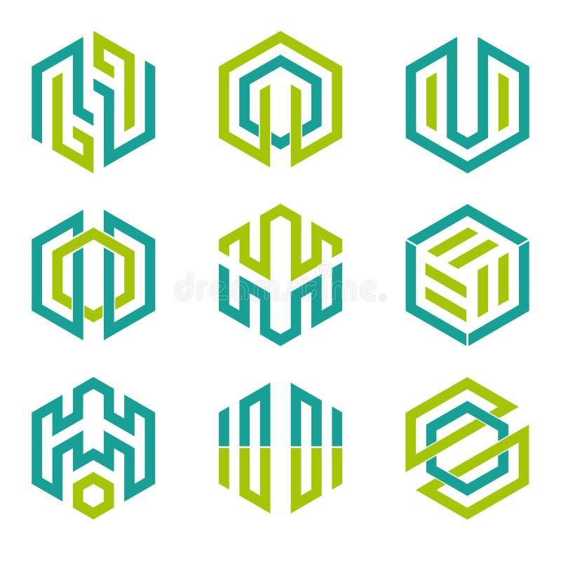 六角形被塑造的设计元素3 库存例证