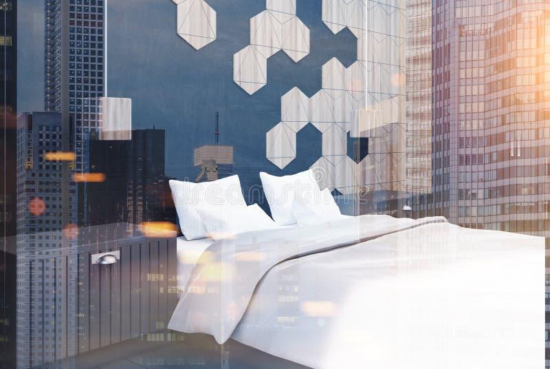 六角形被定调子的卧室角落 向量例证