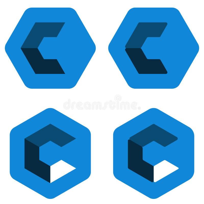六角形c商标用不同的位置 ?? 皇族释放例证