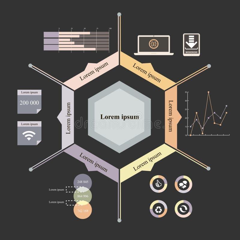 六角形infographics 库存例证