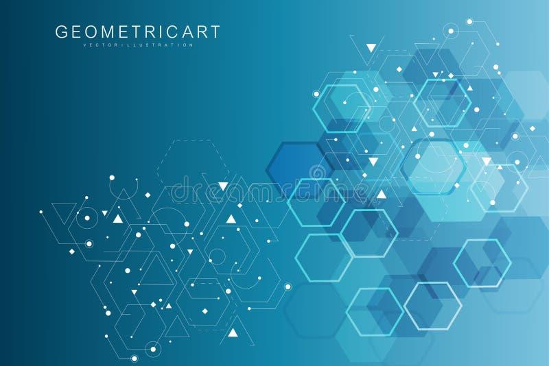六角抽象的背景 大数据形象化 全球网络连接 医疗,技术,科学 库存例证