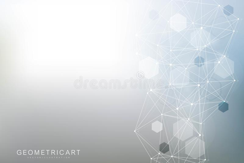六角抽象的背景 大数据形象化 全球网络连接 医疗,技术,科学 皇族释放例证