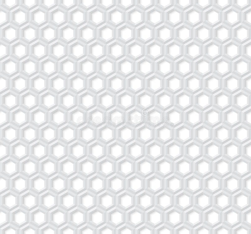 六角无缝的传染媒介样式 与E-F的3d的浅灰色的六角形 皇族释放例证