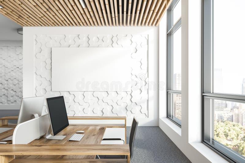 六角样式办公室工作场所,海报 向量例证