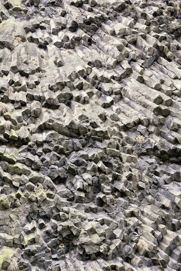 六角火山的棱镜墙壁细节 库存图片