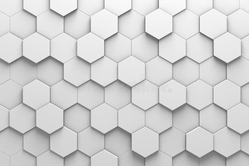 六角瓦片3D样式墙壁 库存例证