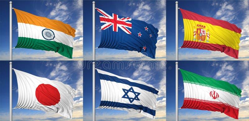 六面旗子的汇集 库存例证