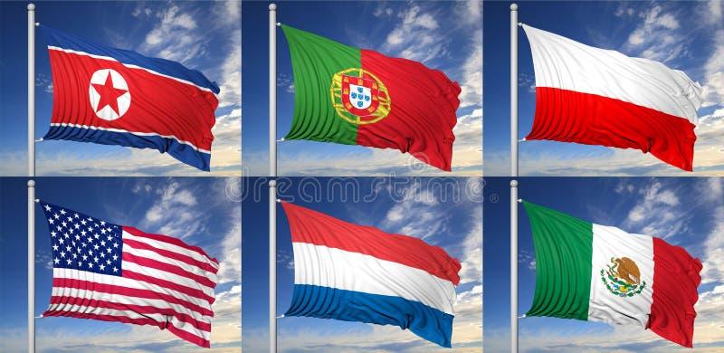 六面旗子的汇集 向量例证