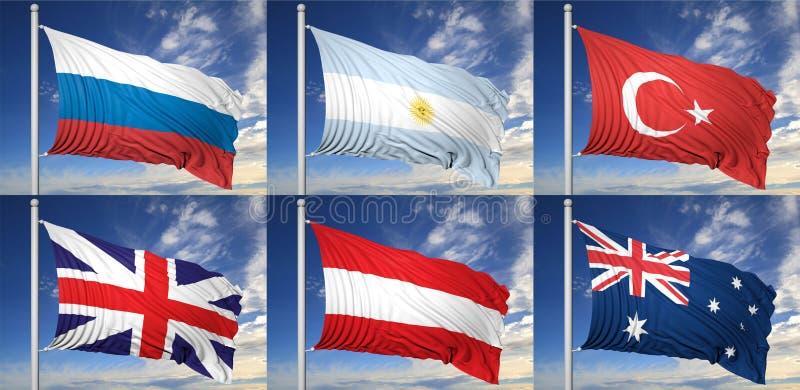 六面旗子的汇集 皇族释放例证