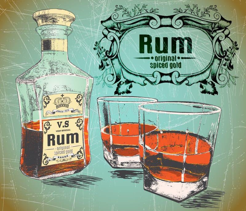 兰姆酒是倾吐与瓶的两块玻璃在破旧的背景 向量例证