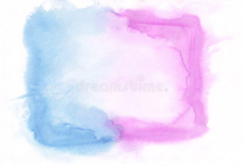 兰花倒挂金钟和深蓝天蓝混合了水彩水平的梯度背景 它` s有用为贺卡,华伦泰, 皇族释放例证