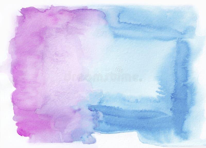 兰花倒挂金钟和深蓝天蓝混合了水彩水平的梯度背景 它` s有用为贺卡,华伦泰, 向量例证