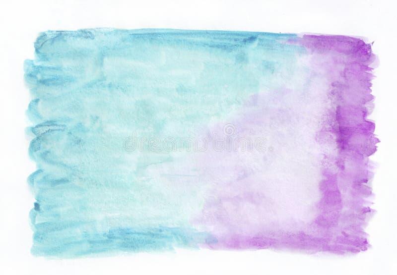 兰花紫色和深蓝深天蓝色混合了水彩水平的梯度背景 它` s有用为贺卡,瓦伦蒂 库存例证