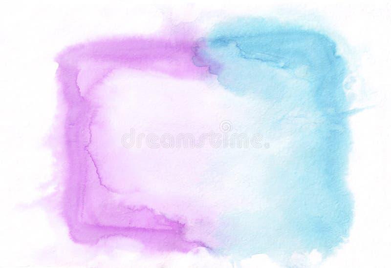 兰花紫色和深蓝深天蓝色混合了水彩水平的梯度背景 它` s有用为贺卡 库存例证