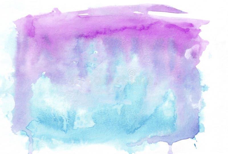 兰花紫色和深蓝深天蓝色混合了水彩水平的梯度背景 它` s有用为贺卡 向量例证
