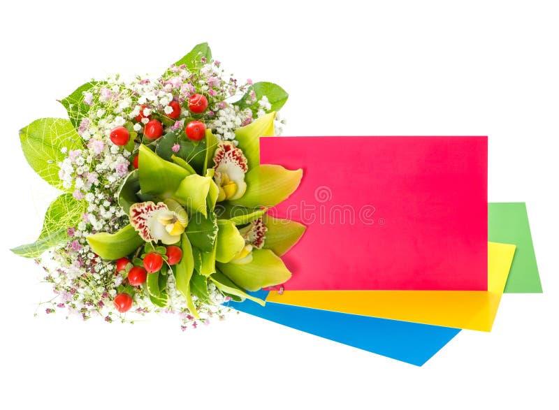 兰花花花束与贺卡的 库存图片