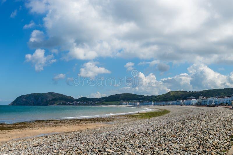 兰迪德诺海滨人行道在北部威尔士,英国 免版税库存图片