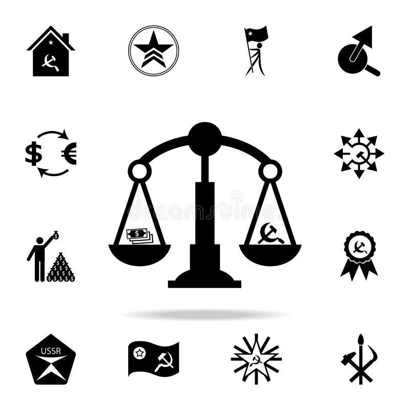 共产主义和资本主义象标度  详细的套共产主义和社会主义象 优质图形设计 一  库存例证
