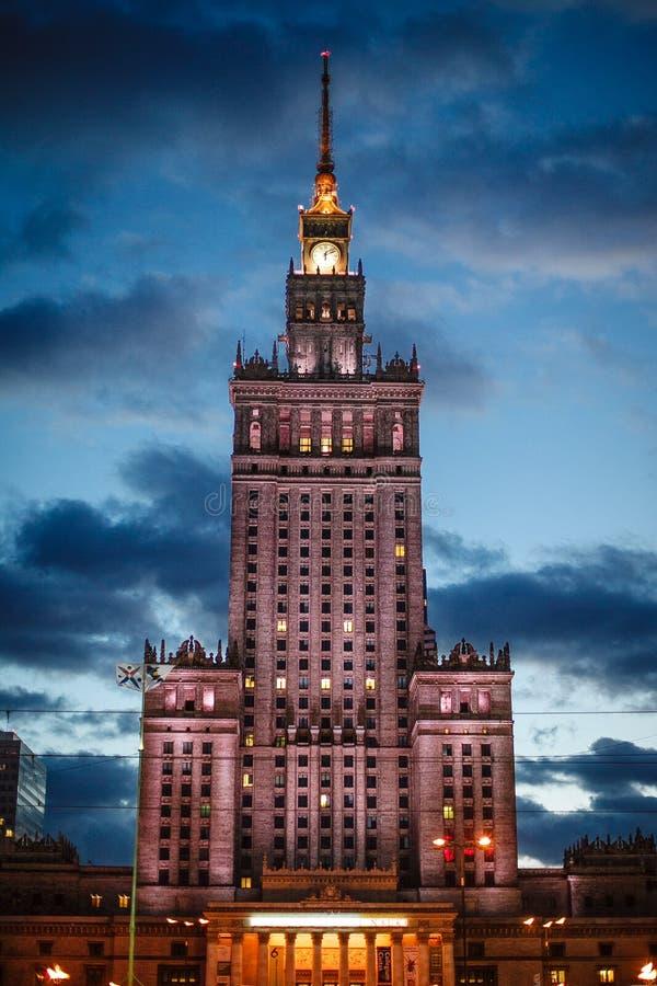 共产主义文化宫殿波兰科学符号华沙 免版税库存照片
