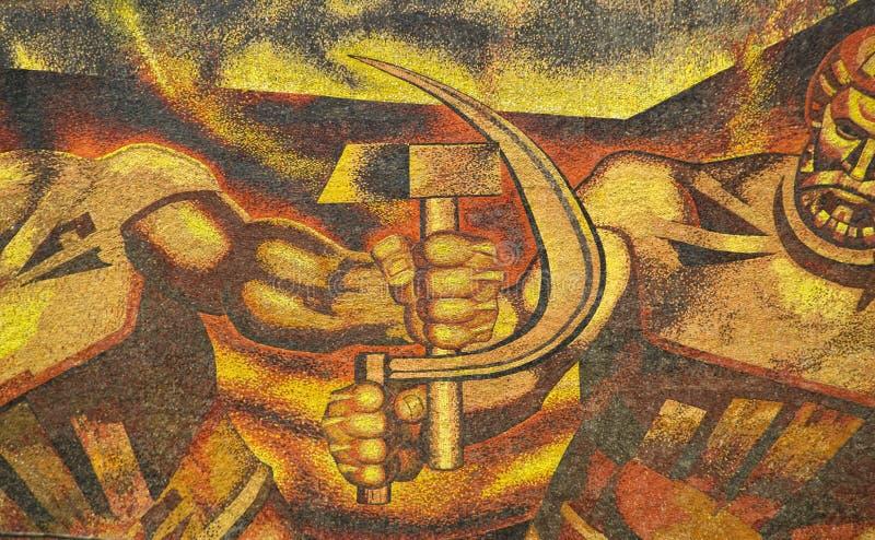 共产主义时代壁画 免版税库存图片